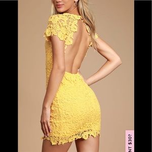 Lulus Yellow Lace Backless Bodycon Dress